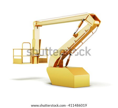 Hydraulic lift machines isolated on white background. 3d rendering. - stock photo