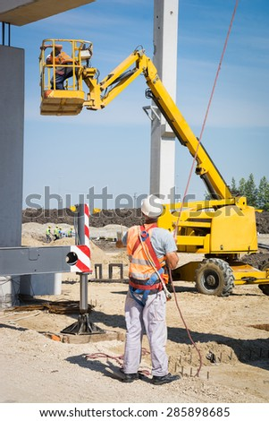 Hydraulic mobile construction platform - stock photo