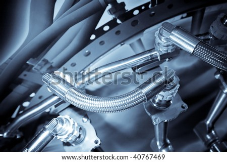 hydraulic pipes used in the aviation industry - stock photo