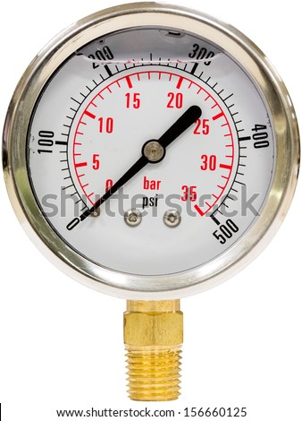Hydraulic Pressure Gauge from 0 to 500 PSI Isolated - stock photo
