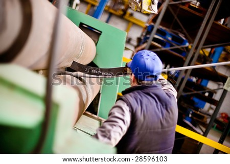 Hydraulic Pressure Steel Bending Roller - stock photo