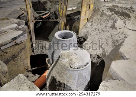 Hydro construction work, reconstruction of sewerage, night photo - stock photo