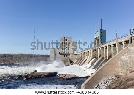 hydro electric dam - stock photo