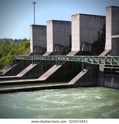 Hydro electric power plant on Traun river in Marchtrenk, Austria. Alternative energy source. - stock photo