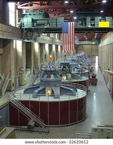 Hydro electric turbines - stock photo