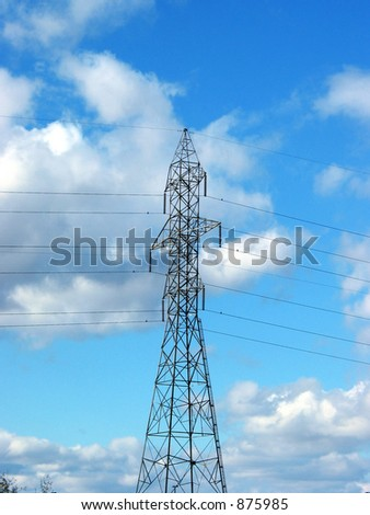 Hydro power tower on the blue sky background (centered)