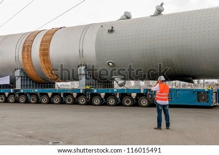 Hydrocracking  installation. Transporting mega installation to refinery - stock photo