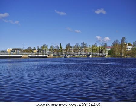 Hydroelectric Dam Bridge - stock photo