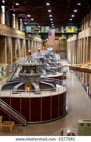 Hydroelectric Generator at the Hoover dam. - stock photo