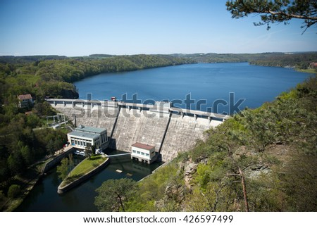 Hydroelectric power dam on the Vranov, Czech Republic, South Moravia - stock photo