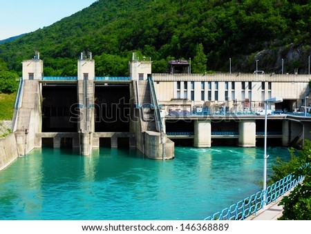 Hydroelectric power plant - green renewable energy - stock photo