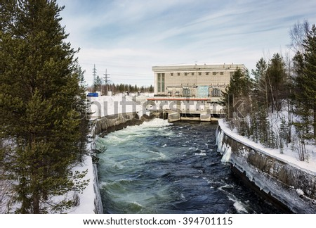 Hydroelectric power plant in the north of Russia, operating since the 50s - stock photo