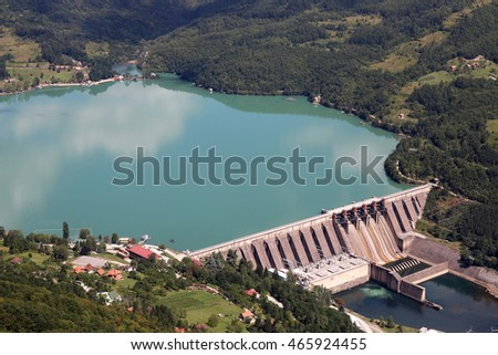 hydroelectric power plant on river landscape