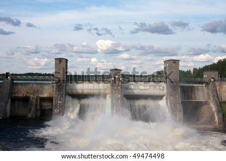 Hydroelectric power station in Imatra - Imatrankoski, Finland. - stock photo