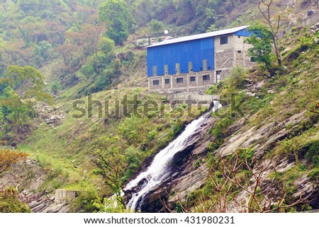 Hydroelectric power station in Nepal - stock photo