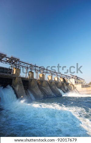 Hydroelectric pumped storage  river - stock photo