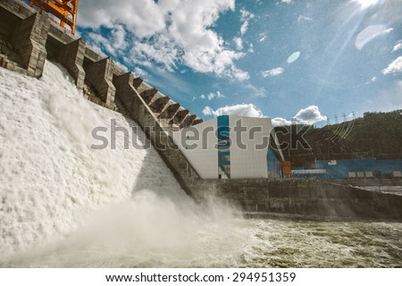Hydroelectric Water Power plant station dam in Russia, Spillway test - stock photo