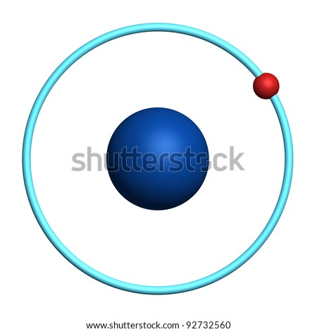 hydrogen atom on white background - stock photo