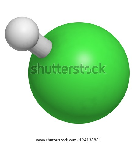 Hydrogen Chloride H Cl Molecule Chemical Structure Stock