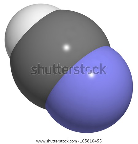 Hydrogen cyanide (HCN, Prussic acid) molecule, chemical structure. HCN is an extremely toxic and volatile liquid. - stock photo