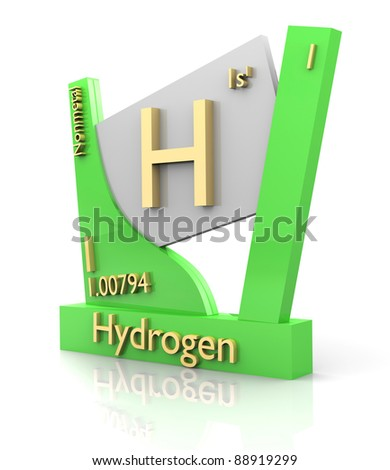 Hydrogen form Periodic Table of Elements - 3d made - stock photo