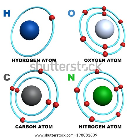 hydrogen oxygen carbon nitrogen - stock photo
