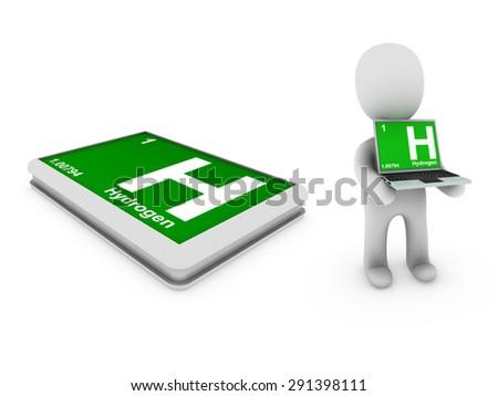 hydrogen symbol - stock photo