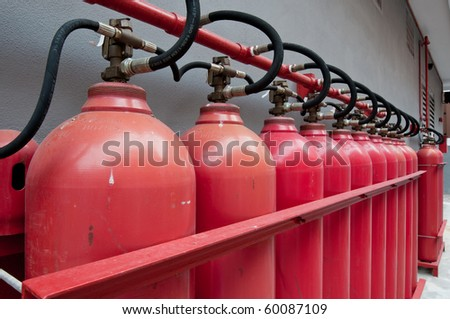 Hydrogen tanks of a power generator - stock photo