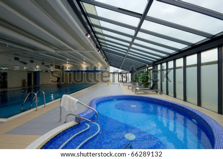 hydromassage pool with water in Hotel Leisure Center Interior - stock photo