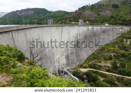 Hydropower dam in Peneda Geres, the only national park in Portugal, located in the Norte region. - stock photo