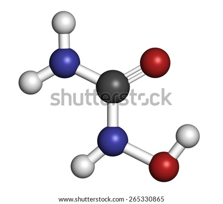 Hydroxycarbamide cancer drug molecule. Atoms are represented as spheres with conventional color coding: hydrogen (white), carbon (grey), oxygen (red), nitrogen (blue). - stock photo