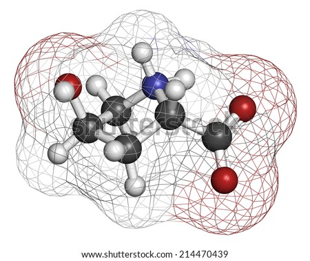 Hydroxyproline (Hyp) amino acid. Essential component of collagen. Atoms are represented as spheres with conventional color coding: hydrogen (white), carbon (grey), nitrogen (blue), oxygen (red). - stock photo