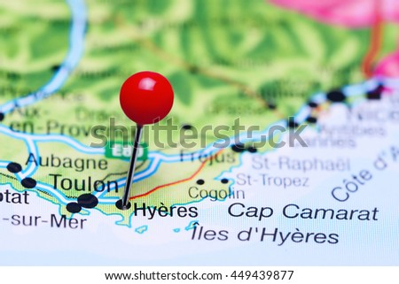 Hyeres Pinned On Map France Stock Photo Royalty Free 449439877