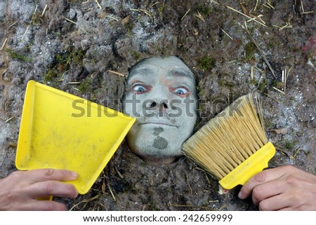 Hygiene bacteria-acarus concept, man with dustpan and broom - stock photo