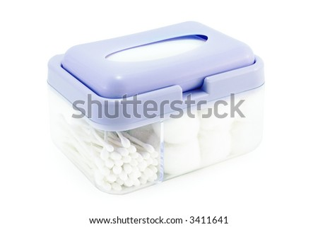 hygiene box (q-tips and cotton wool) on a white background