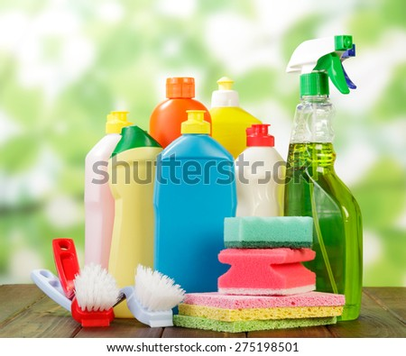 Hygiene cleanser in bottles with brushes and sponges