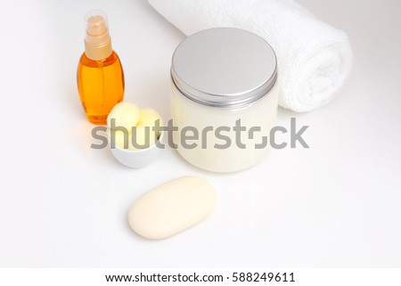 hygiene products for the bath and can soap cream ob white background