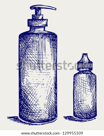 Hygiene products in plastic bottles. Doodle style. Raster version - stock photo