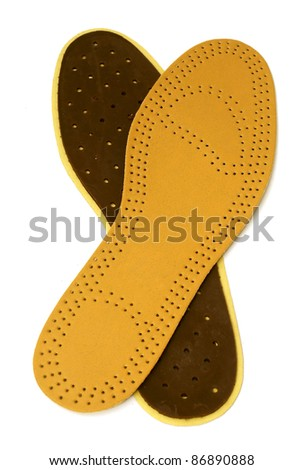 hygienic insoles for the shoe with openings for ventilation isolated on white - stock photo