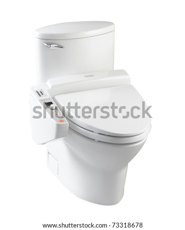Hygienic toilet bowl with all automatic function the image isolated on white background - stock photo