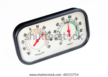 Hygrometer on white background. Measuring temperature and relative humidity. - stock photo