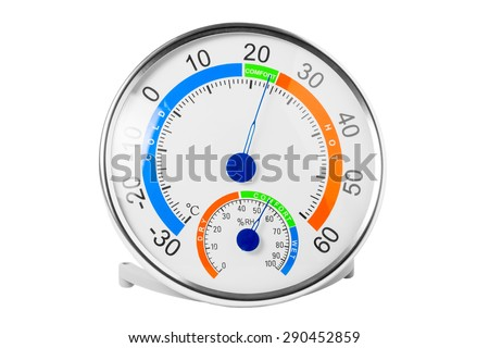 hygrometer shows a comfortable temperature and humidity - stock photo