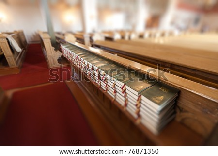 Hymnals and prayer books - stock photo