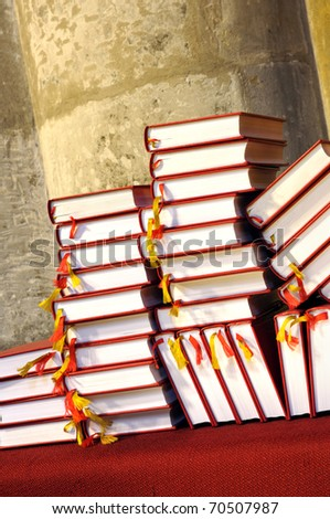 Hymnals and prayer books - stack - stock photo