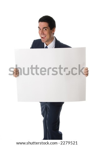 hyper man in blue suit holding a white card