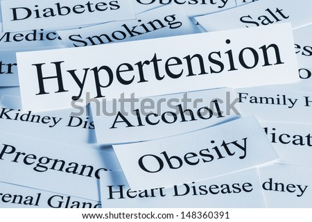 Hypertension concept, with its major causes. - stock photo