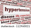 Hypertension medical poster design. Health care risk factor message background - stock photo