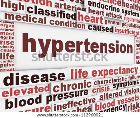 Hypertension medical poster design. Health care risk factor message background - stock photo