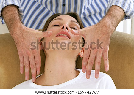 hypnotherapy- preparation for an hypnotism session -Doctor and patient - focus on the  hands gesture - stock photo