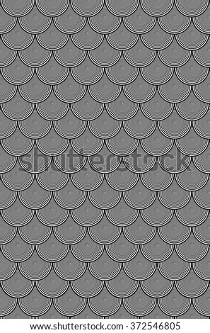 Hypnotic Black and White Circle Scales Pattern is a background design of black and white circles that reduce into each other laid out in a staggered grid pattern.  - stock photo